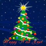 Arbre de Noël pendant la nouvelle année Neige en baisse félicitation Photographie stock