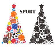 Arbre de Noël peu commun. Sport Image libre de droits