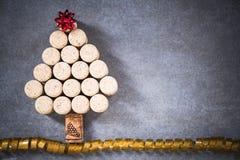 Arbre de Noël pour l'amateur de vin, liège naturel de vin Photos libres de droits
