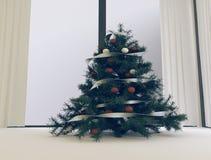 Arbre de Noël près de la fenêtre, 3d Photographie stock libre de droits