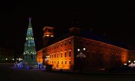 Arbre de Noël près de place de château, Varsovie, Pologne photos stock