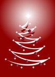 Arbre de Noël rouge et blanc avec des ornements Photographie stock libre de droits