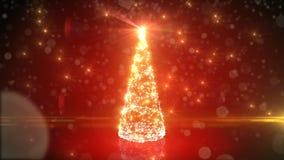 Arbre de Noël rouge moderne de Digital s'élevant comme la maille de grille dans le cyberespace abstrait Lumières de clignotement  banque de vidéos