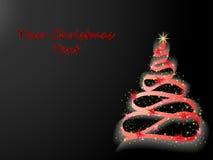 Arbre de Noël rougeoyant sur le noir illustration libre de droits