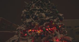 Arbre de Noël sous la neige la nuit banque de vidéos