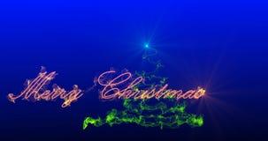 Arbre de Noël stylisé avec les feux d'artifice en baisse des flocons de neige, banque de vidéos