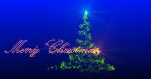 Arbre de Noël stylisé avec les feux d'artifice en baisse des flocons de neige, canal alpha clips vidéos