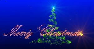 Arbre de Noël stylisé avec les feux d'artifice en baisse des flocons de neige, canal alpha banque de vidéos