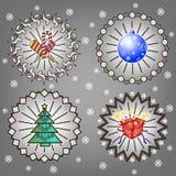 Arbre de Noël, sucrerie, cadeaux et boule de nouvelle année Photo stock