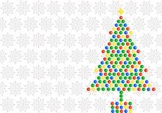 Arbre de Noël sur des flocons de neige illustration stock