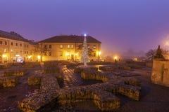Arbre de Noël sur Fara Square à Lublin Photo libre de droits