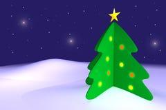 Arbre de Noël sur la neige Image stock