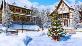 Arbre de Noël sur la place alpine bloquée par la neige de banlieue noire banque de vidéos