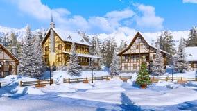 Arbre de Noël sur la place alpine bloquée par la neige de village illustration stock