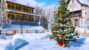 Arbre de Noël sur la place de banlieue noire au jour d'hiver 4K banque de vidéos