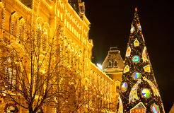 Arbre de Noël sur la place rouge photo libre de droits