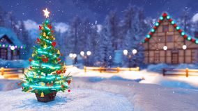 Arbre de Noël sur le fond alpin brouillé de village illustration stock