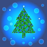 Arbre de Noël sur le fond bleu de gradient Image stock
