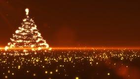 Arbre de Noël sur le fond d'or illustration de vecteur