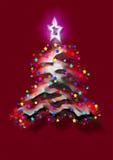 Arbre de Noël sur le fond rouge Photos stock