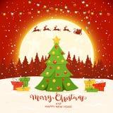 Arbre de Noël sur le fond rouge d'hiver illustration stock