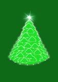 Arbre de Noël sur le fond vert Image libre de droits