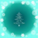 Arbre de Noël sur le fond vert avec le flocon de neige Photo stock