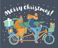 Arbre de Noël de transport de couples, boîte-cadeau illustration stock