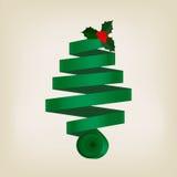 Arbre de Noël vert de fête de ruban enroulé Images libres de droits
