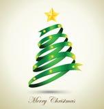 Arbre de Noël vert de ruban avec l'étoile d'or Photo libre de droits