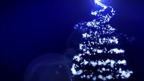 Arbre de No?l brillant sur le fond bleu Couleur magique d'arbre Illumination d'hiver de No?l Animation de boucle illustration de vecteur