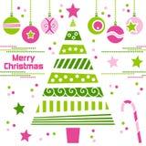 Arbre de Noël avec des billes Photographie stock libre de droits