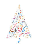 arbre 2016 de Noël avec les notes musicales en métal coloré d'isolement sur le blanc Photo stock