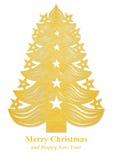 Arbre de Noël fait de papier - d'or Images libres de droits