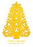 Arbre de Noël fait de papier - jaune Image libre de droits