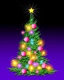 Arbre de Noël - illuminé Photos libres de droits
