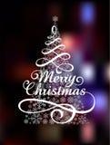 Arbre de Noël magique sur coloré abstrait Images libres de droits