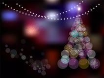 Arbre de Noël magique sur coloré abstrait Photographie stock libre de droits