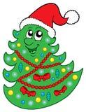 Arbre de Noël mignon avec le chapeau Image libre de droits