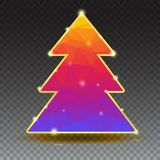 Arbre de nouvelle année des triangles de couleur avec l'équilibre d'or sur le fond transparent, illustration 3D Arbre de Noël ave Photographie stock