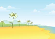 Arbre de plage et de noix de coco Image libre de droits