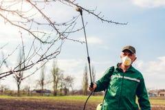 Arbre de pulv?risation d'agriculteur avec le pulv?risateur manuel de pesticide contre le jardin d'insectes au printemps Agricultu images stock