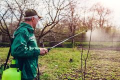 Arbre de pulv?risation d'agriculteur avec le pulv?risateur manuel de pesticide contre le jardin d'insectes au printemps Agricultu images libres de droits