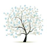 Arbre de ressort avec des fleurs pour votre conception Images libres de droits