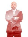 Arbre de rouge de double exposition d'homme d'affaires Images stock