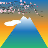 Arbre de Sakura sur le fond de montagne de Fuji Illustration Stock
