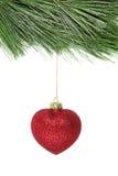 Arbre de sapin de Noël et babiole rouge de scintillement Images libres de droits