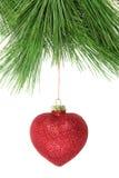 Arbre de sapin de Noël et babiole rouge de scintillement Photographie stock