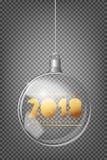 Arbre 2018 de sapin de Noël et boule argentée transparente réaliste de Noël sur un fond abstrait clair Image stock