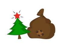 Arbre de sapin de Noël et sac de cadeau Photographie stock libre de droits